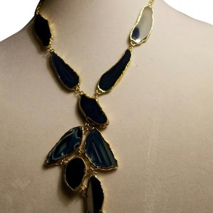 shiela fajl 18kt gold over brass with Genuine Blue Agate necklace