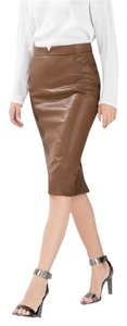 Zara Pleather Faux Leather Pencil Camel Skirt Brown