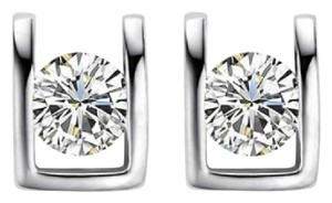 Other New 10K White Gold Cubic Zirconia Stud Earrings J3071