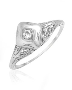 Edwardian 18k White Gold Filigree Diamond Ring Size6.5 Si2 Color G 0.08 Tcw2.5g