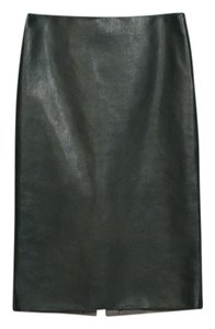Zara Pleather Faux Leather Pencil Skirt Dark Green