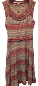 Max Studio short dress multicolored: light brown with orange and dark brown stripes on Tradesy