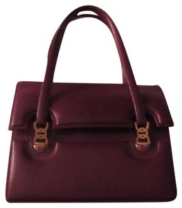 Gucci True 1960's Mod Early Two-tone Hardware Kelly Style Hard & Boxy Shape Satchel in burgundy leather