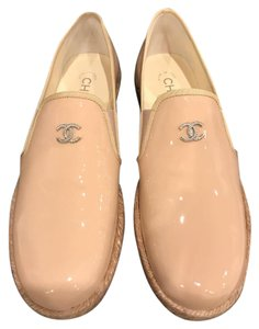 Chanel Patent Espadrille Classic Ballerina Nude Flats