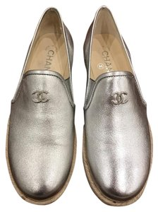 Chanel Lambskin Leather Espadrille Loafer Mocassin silver Flats