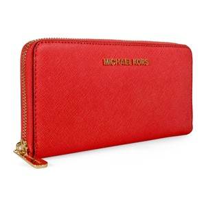 Michael Kors Michael Kors Jet Set Travel Continental Leather Wallet Watermelon