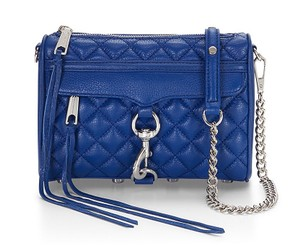 Rebecca Minkoff Quilted Leather Blue Silver Mini M.a.c. New With Cross Body Bag