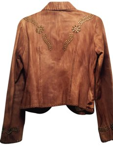 Michael Kors Brownish orange color Leather Jacket