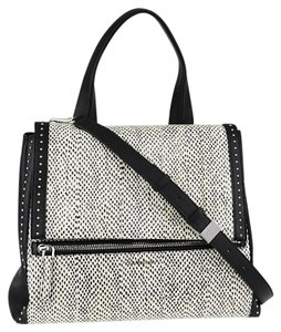Givenchy Pandora Snakeskin Leather Studded Satchel in Black and White