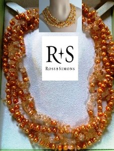 Ross-Simons Ross-Simons Gold Pearl and Citrine Gemstone necklace - 925 Sterling Silver. This gold-colored natural pearl four-strand necklace is enhanced with authentic citrine chips.