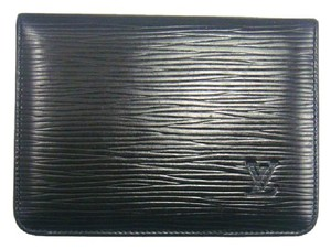 Louis Vuitton Black Epi Leather Porte 2 Cartes Slim Credit ID Wallet