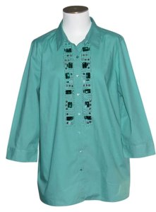 Jaclyn Smith Top Turquoise
