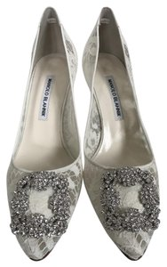 Manolo Blahnik Lace Hangisi White Pumps