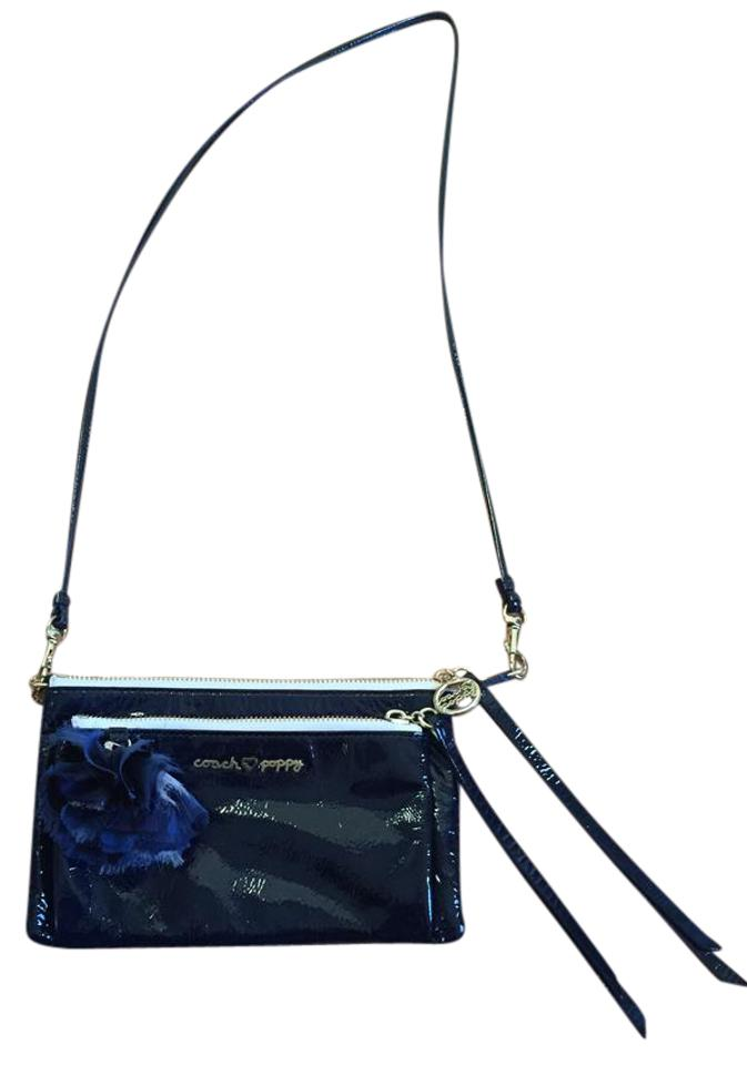 20e60b0ff8d1 Coach Poppy Navy Blue Leather Cross Body Bag - Tradesy