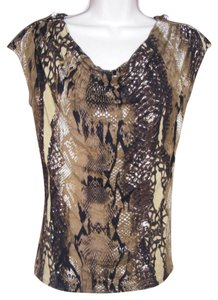 Vivienne Tam Snakeskin Animal Print Zippers Top Brown