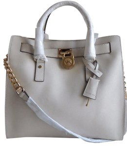 Michael Kors Mk Large Hamilton Mk Saffiano Leather Mk Hamilton Tote in Optic White /Gold Hardware
