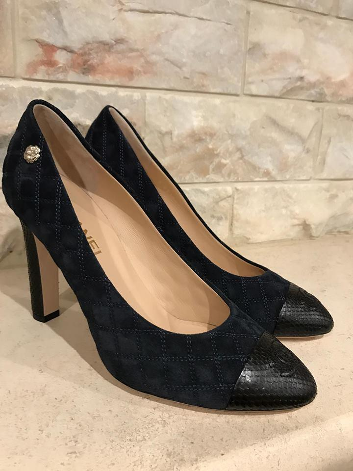 3b51cff5986c Chanel Blue 16a Black Python Navy Suede Cc Quilted Classic Heel Pumps