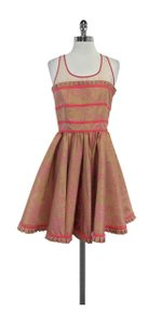 RED Valentino short dress Tan Pink Floral Print on Tradesy