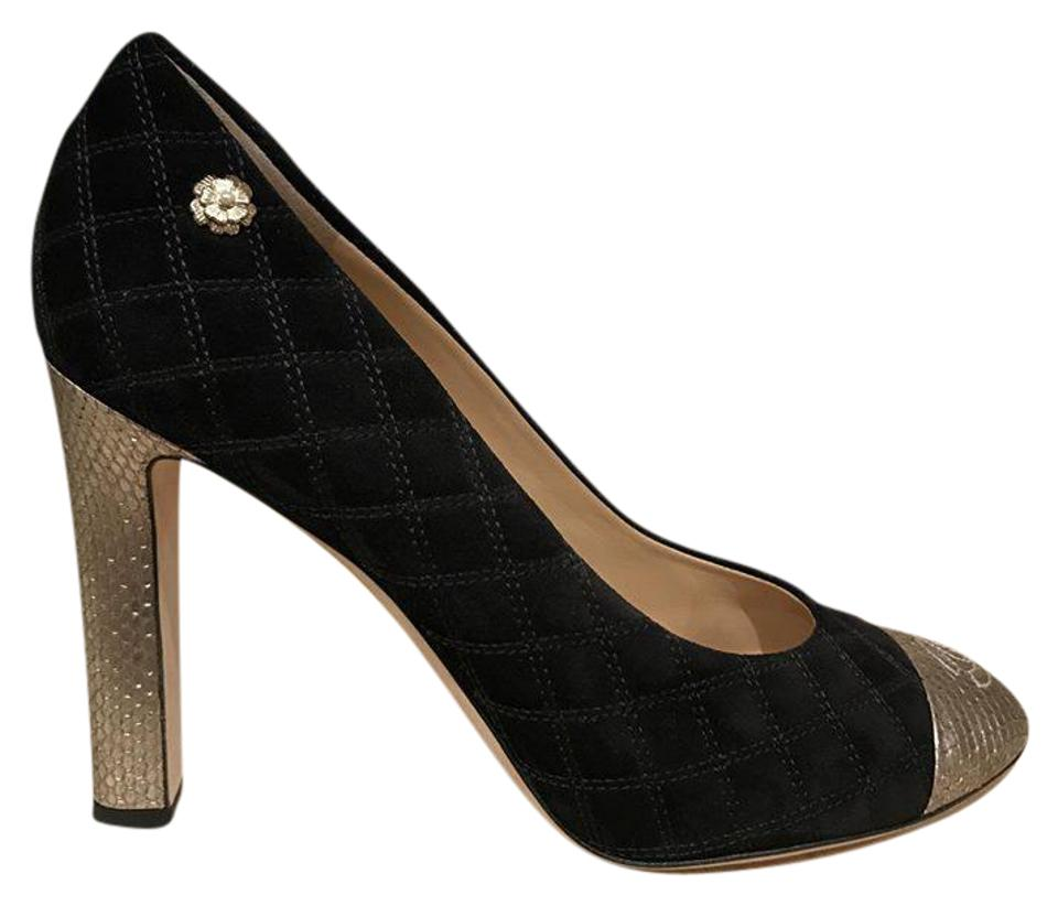 89653dc067ab Chanel Black 16a Python Gold Suede Cc Quilted Classic High Heel Pumps
