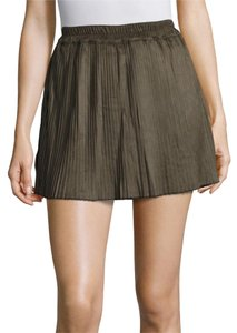 Romeo & Juliet Couture Faux Suede Pleated Mini Accordion Pleat Mini Skirt Army Green