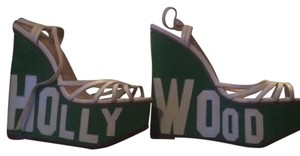 Charlotte Olympia green and white Platforms