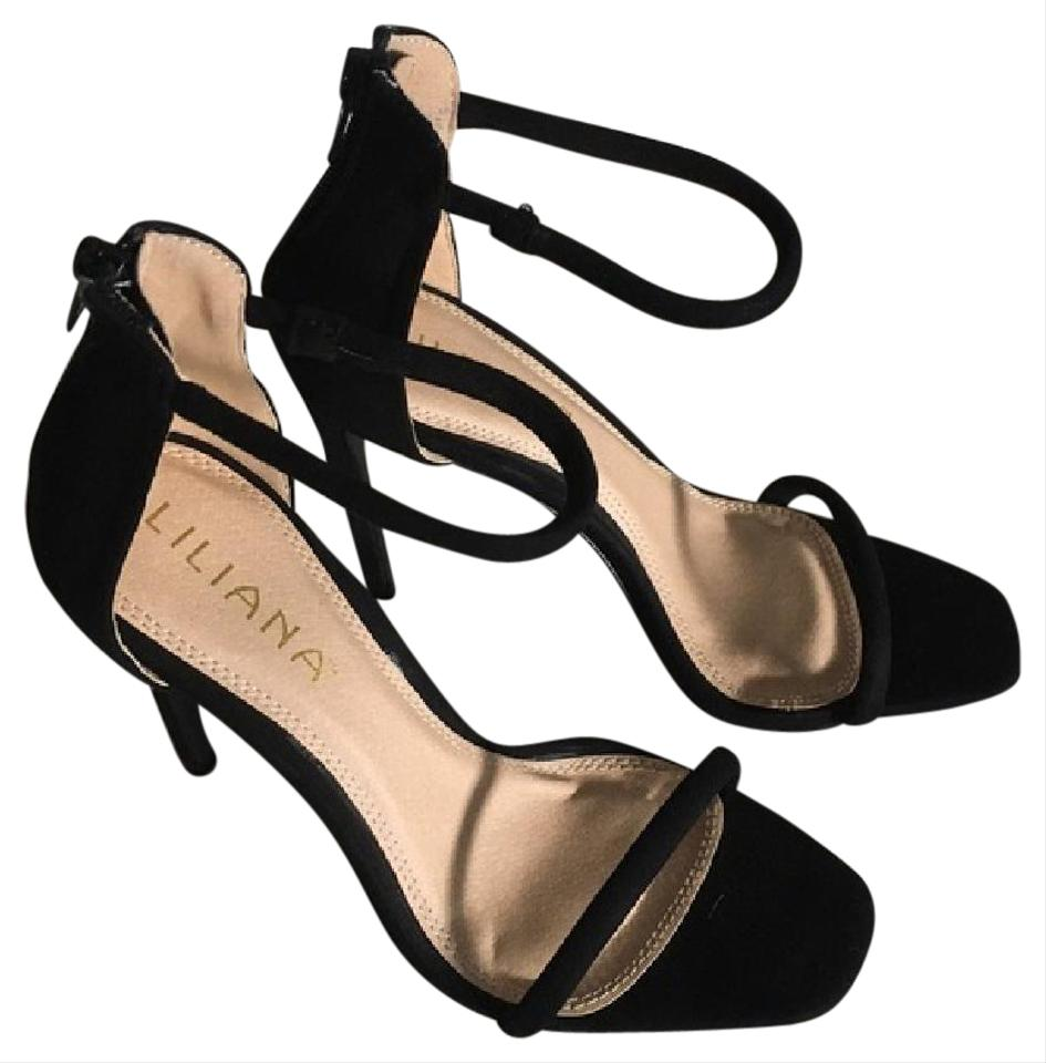 b26d6fcee615 Liliana Black New Suede Open Toe Strappy Heel Sandals Size US 5.5 ...