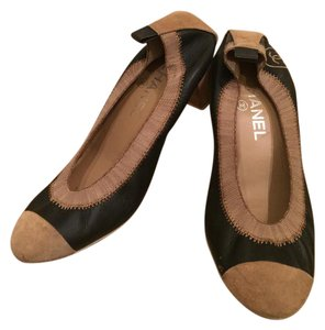 Chanel Stretch Spirit Suede Cap-toe Black and Taupe Pumps
