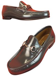 Gucci Piombo/Dark Gray Horsebit Shade Lux Leather Silver Loafers 10 11 #386598 Shoes