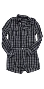 A.P.C. Dark Green Blue & White Plaid Dress