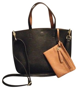 Street Level Faux Leather Reversible Black Brown Tote in Black/Cognac