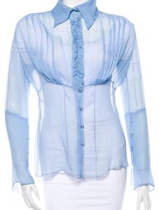 Tuleh Silk Sheer Designer Couture Top Sky Blue