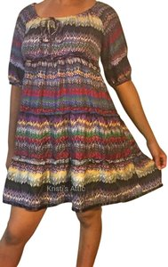 Kensie short dress Purple red yellow green white black Silk Off Shoulder Boho on Tradesy