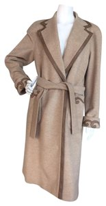 Escada Wool Cashmere Alpaca Long Studded Trench Coat