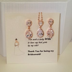 Bridesmaid Rose Gold Plated Cubic Zirconia Gift Set