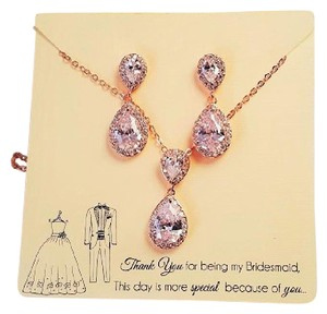 Brilliant Bridesmaid Rose Gold Plated Cubic Zirconia Gift Set