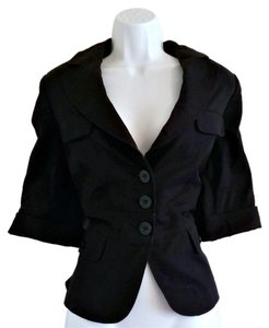 Ann Taylor Short Sleeve Tailored Fitted Navy Blue Blazer