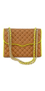Rebecca Minkoff Tan & Yellow Studded Quilted Affair Shoulder Bag
