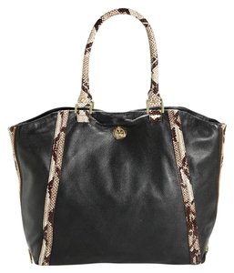 Tory Burch Snakeskin Python Calfskin Leather Animal Print Tote in Black