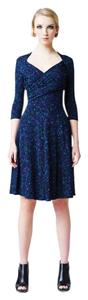 Leota Sweetheart 3/4 Sleeve Surplice Glossy Knit Illuminescent Dress