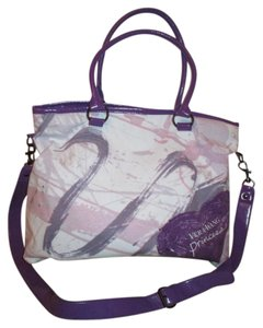 Vera Wang Cotton Canvas Cross Body Tote in purple, pink & white