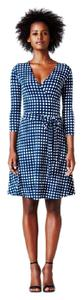 Leota Perfect Wrap Marine Gingham Gingham 3/4 Sleeve Date Night Dress