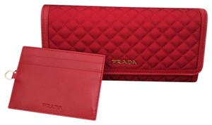 Prada nylon leather wallet
