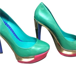 Brian Atwood Turquoise, Pink and Gold Platforms