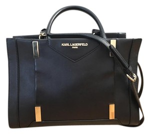 Karl Lagerfeld Leather Gold Hardware Satchel in Black