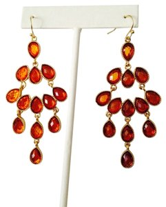 Amrita Singh Faceted Transparent Orange Chandelier Earrings