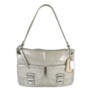 Coach Pewter Metallic Leather Rare Tote in Silver