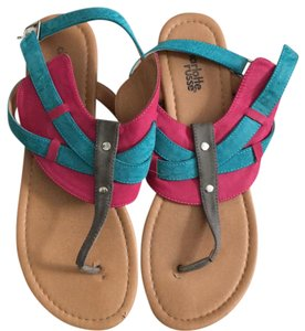 Charlotte Russe pink blue tan Sandals