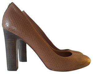Coach Chunky Heel Round Toe Work Brown Pumps