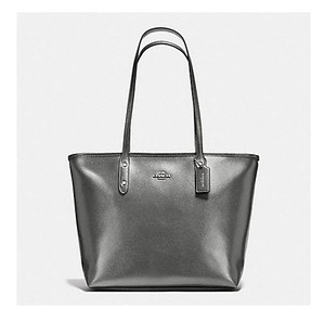 Coach F34103 34104 Hobo Zip Top Tote in Metallic Silver