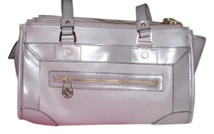 Isaac Mizrahi Live! Leather Satchel in Taupe Gray
